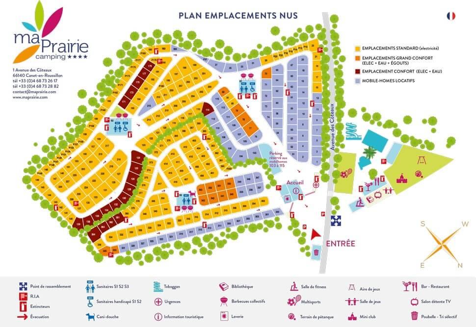 Camping 4 étoiles à Canet-en-Roussillon - plan des emplacements
