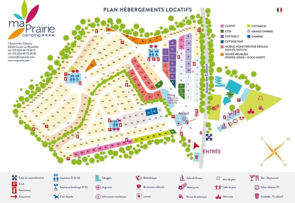Camping 4 étoiles à Canet-en-Roussillon - plan des hébergements locatifs